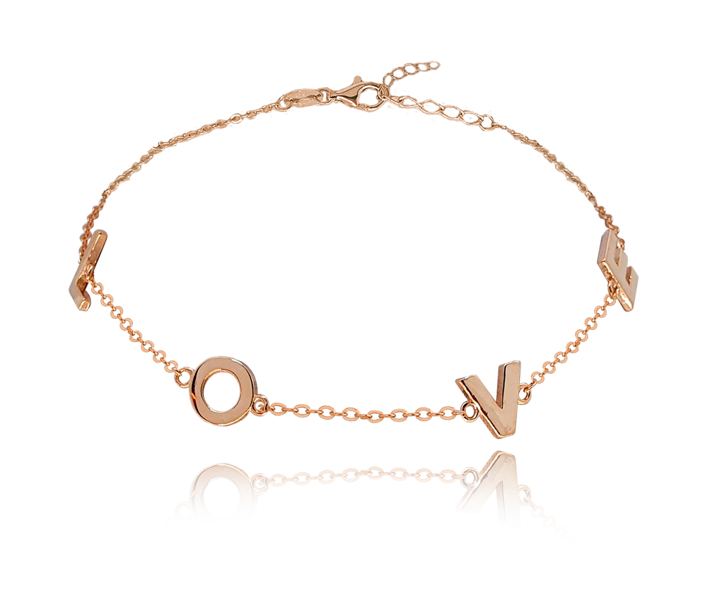 MINET Rose gold stříbrný náramek MINET LOVE JMAN0213BB16