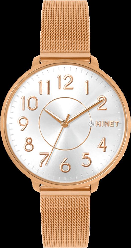 Rose gold dámské hodinky MINET PRAGUE Rose MESH s čísly