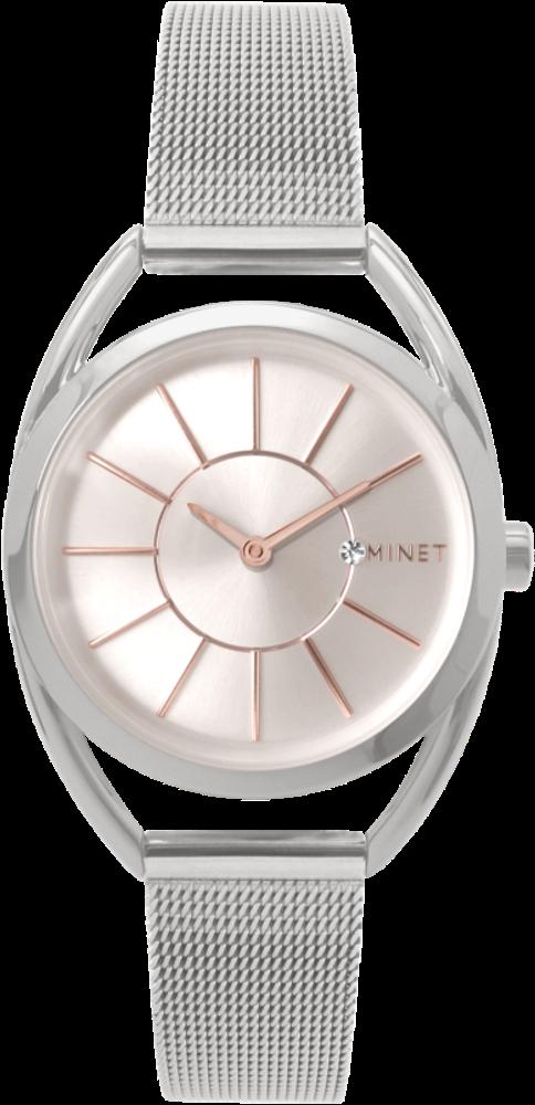 MINET Stříbrné dámské hodinky MINET ICON SILVER ROSE MESH MWL5010