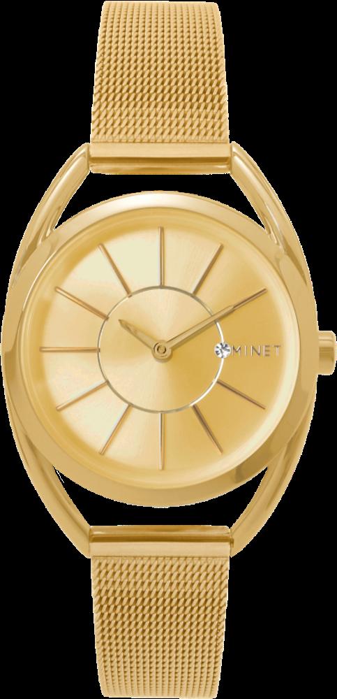 Zlaté dámské hodinky MINET ICON ALL GOLD MESH