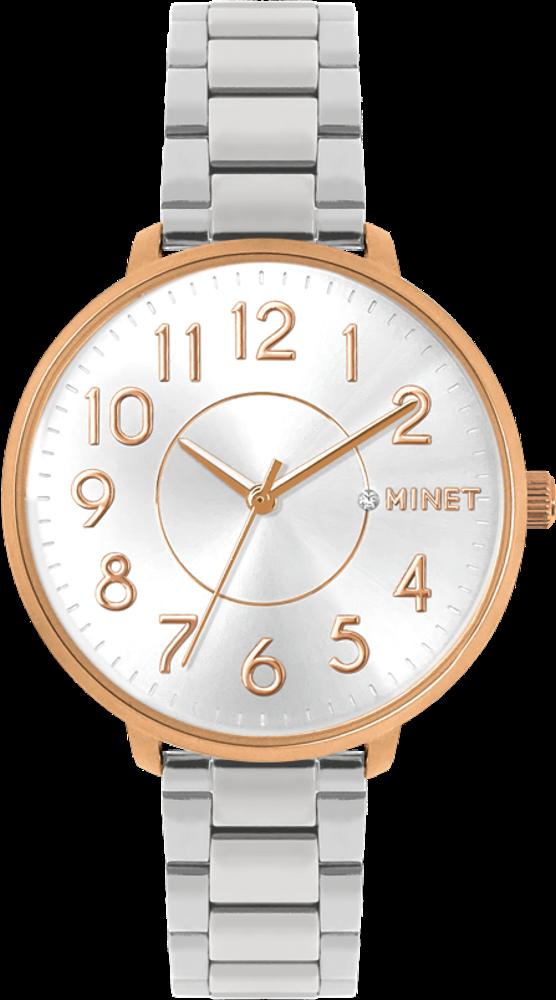 Růžovo-stříbrné dámské hodinky MINET PRAGUE Rose & Silver