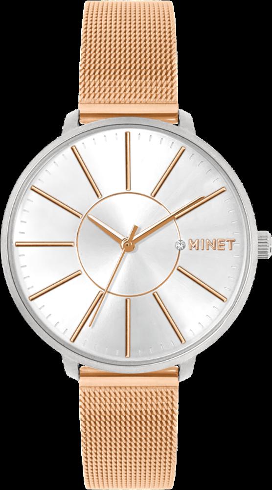 Rose gold dámské hodinky MINET PRAGUE Rose Gold Bicolor MESH