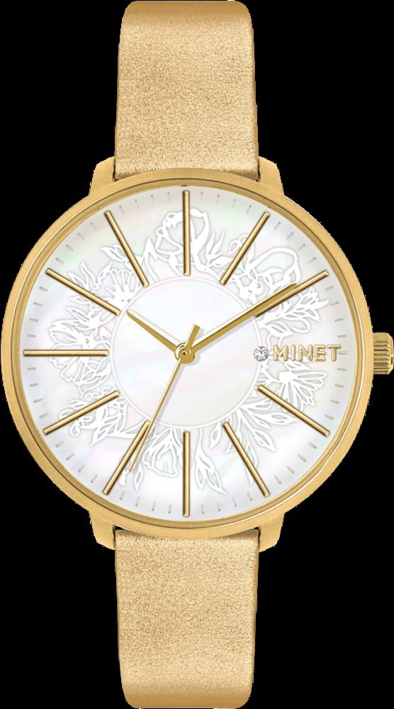 Zlaté dámské hodinky MINET PRAGUE Gold Flower