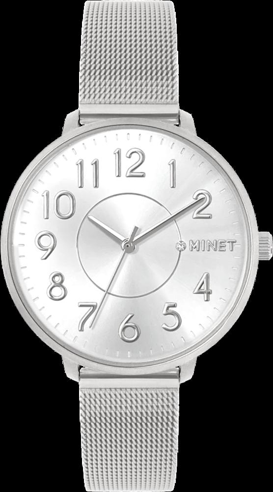Stříbrné dámské hodinky MINET PRAGUE Pure Silver MESH s čísly