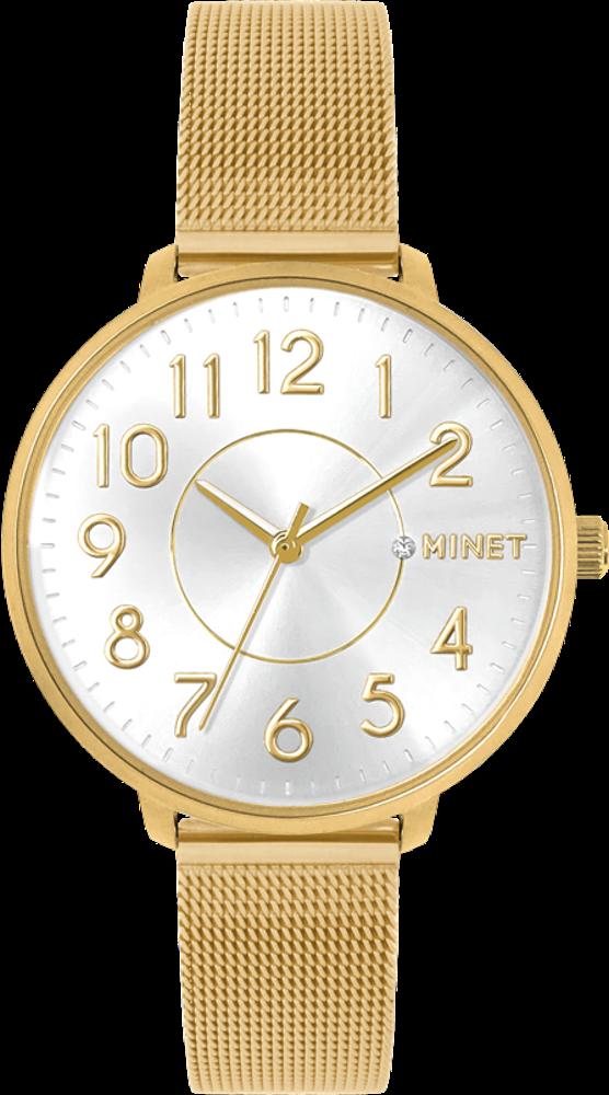 Zlaté dámské hodinky MINET PRAGUE Pure Gold MESH s čísly