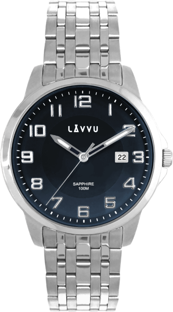 Pánské hodinky se safírovým sklem a svítícími číslicemi LAVVU NARVIK Blue