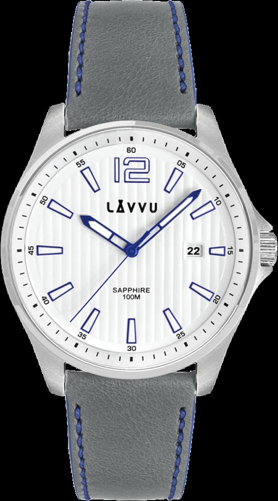 Pánské hodinky se safírovým sklem LAVVU NORDKAPP White / Top Grain Leather