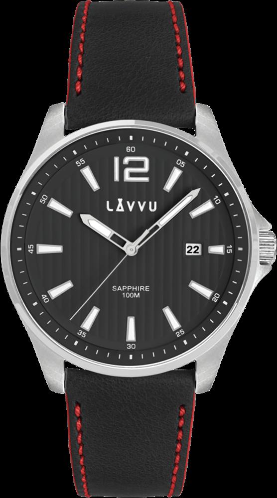 Pánské hodinky se safírovým sklem LAVVU NORDKAPP Black / Top Grain Leather
