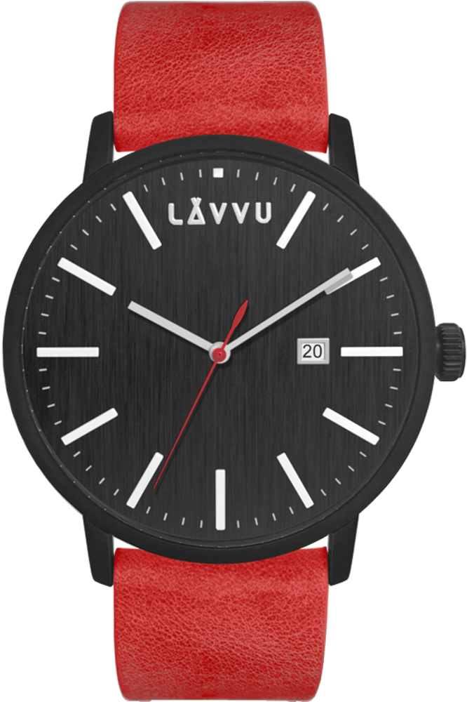 Červeno-černé pánské hodinky LAVVU COPENHAGEN HEAT