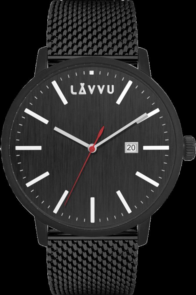 Černé pánské hodinky LAVVU COPENHAGEN MESH