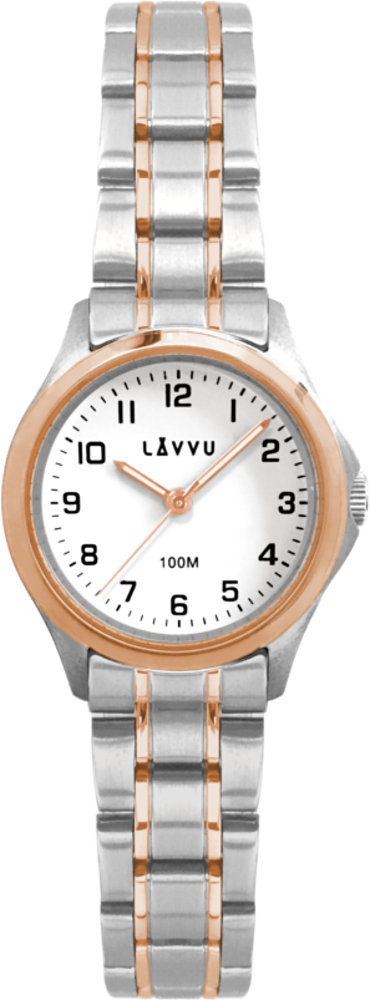 Dámské hodinky LAVVU ARENDAL Original Rose Gold Bicolor s vodotěsností 100M