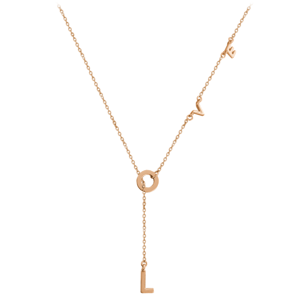 MINET Rose gold stříbrný náhrdelník MINET LOVE JMAN0213RN45