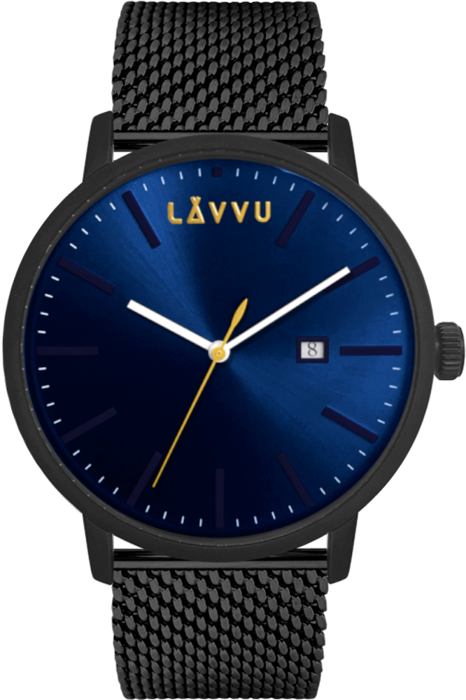 Černo-modré pánské hodinky LAVVU COPENHAGEN MESH